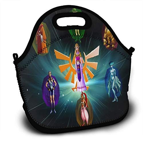 The Legend Of Zelda Ocarina Of Time Sages-Lunch Tote Thick Reusable Insulated Thermal Lunch Bag Small Lunch Box Handbags Tote With Zipper For Adults Kids Nurse Teacher Work Outdoor Travel Picnic (Legend Of Zelda Ocarina Of Time Owl)