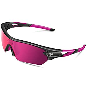 Torege Polarized Sports Sunglasses With 5 Interchangeable Lenes for Men Women Cycling Running Driving Fishing Golf Baseball Glasses TR002 (Black&Pink&Pink lens)