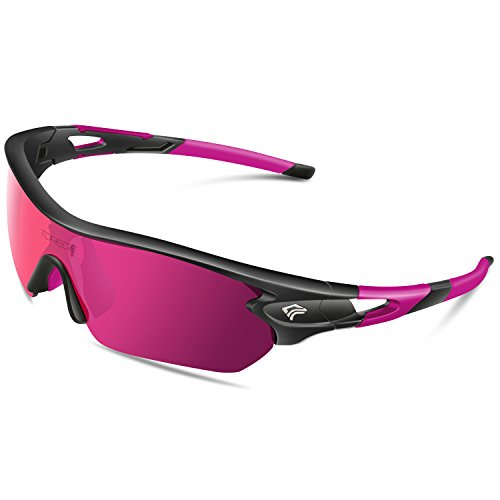Torege Polarized Sports Sunglasses With 5 Interchangeable Lenes for Men Women Cycling Running Driving Fishing Golf Baseball Glasses TR002 (Black&Pink&Pink - Running Good