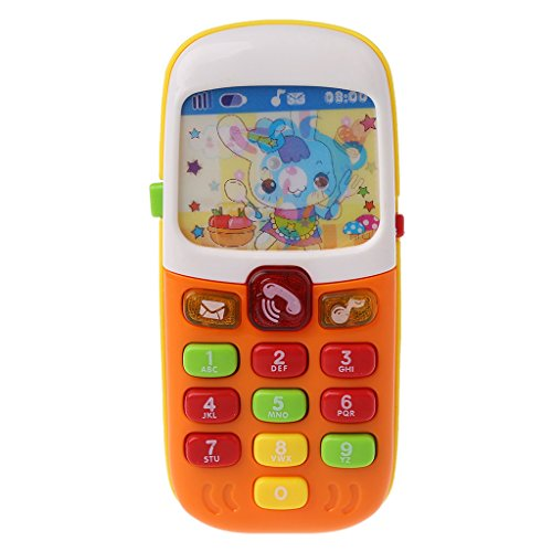 Seaskyer Baby Electronic Mobile Phone with Sound,Cartoon Animation Screen, Music Smart Cellphone Educational Learning Toys for Kids ()
