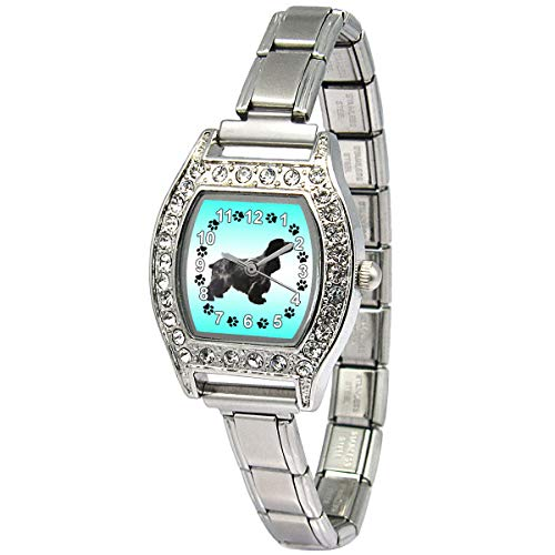 Timest - Cocker Spaniel - Womens Stainless Steel Italian Charms Bracelet Watch BJ1095 ()