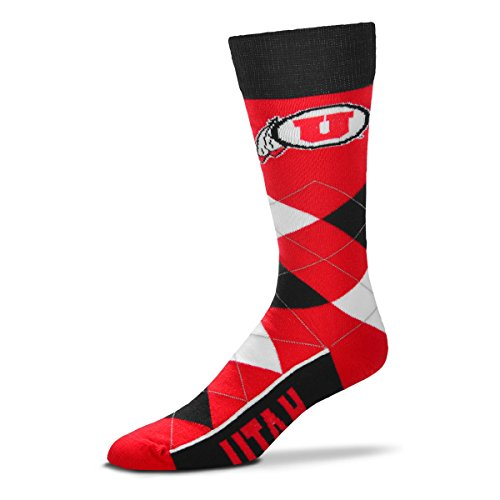 (For Bare Feet NCAA Argyle Lineup Unisex Crew Dress Socks-One Size Fits Most-Utah Utes)