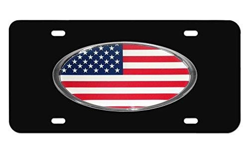 Elektroplate Oversized USA Oval on Black Metal Front License Plate
