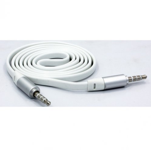 Fonus White Tangle Free Flat Wire Car Audio Stereo Aux Cable