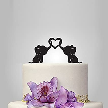 Cutest Wedding Cake Toppers.Amazon Com Personalized Cute Elephants Silhouette Wedding Cake