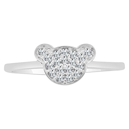 Ring Teddy 14k Bear (14k White Gold, Small Teddy Bear Face Silhouette Ring Created CZ Crystals Size 6)