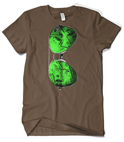 Cybertela Men's Cash Money Shades Sunglass T-shirt (Brown, - Chris Shades Brown