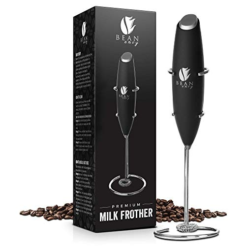 (Bean Envy Milk Frother Handheld - Perfect For The Best Latte - Whip Foamer - Includes Stainless Steel Stand - Black)