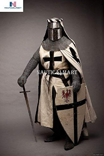 NAUTICALMART Knight's Templar Cross Surcoat Chain Mail Hood Armor with Crusade Helmet