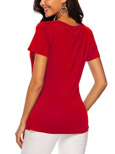 Donna Camicette corte scollo estive Amoretu shirt Maniche Camicette a con Camicette V rosse T FwAq64w