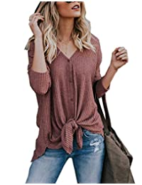 Miatty Women Henley V Neck Button Down T Shirt Tie Front Knot Loose Casual Blouse Top