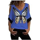 KESEELY Women's Casual T Shirt V-Neck Butterfly