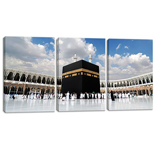 KALAWA 3 Piece Islamic Religion Canvas Wall Art Painting Posters Prints Pictures for Home Decor and Living Room Framed Ready to Hang Large Panel Set Supply Decoration(12
