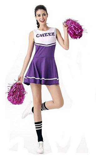 Ladies Sports Fancy Dress Costumes (SWISH Women's Adult Cheerleader Costume Fancy Dress Sport Cheerleading Ourfit (Purple))