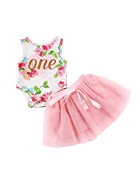 Suntrade Baby Girls' 1st Birthday Outfit Sleeveless Dress Cartoon Printed Floral Romper Top and Lace Tutu Skirt Dress