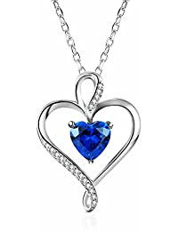 Sterling Silver Heart Pendant Necklace Made with Heart...
