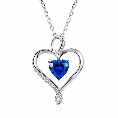Caperci Sterling Silver Created Blue Sapphire Heart Pendant Necklace for Women, 18''