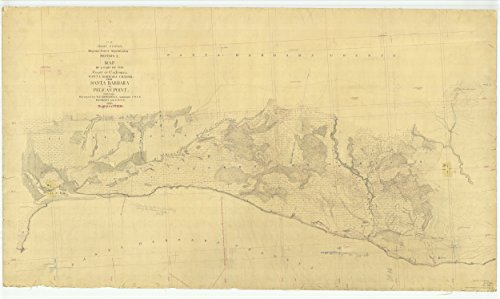 Vintography 24 x 36 Giclee Print Nautical Map Image Santa Barbara Channel from Santa Barbara to Pelican Point 1870 NOAA 33a
