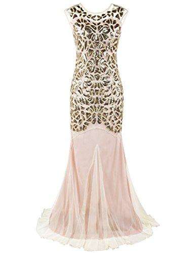 Femmes Perl Longue de Flapper Bal Floral Sirne Maxi Paillette 1920 Gold Robe Kayamiya Gatsby Beige AEwxYdqA