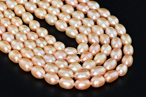 Genuine Aaa Pink Pearl - Jewelry Making Supplies 7x8MM Genuine Natural Salmon Pink Freshwater Pearl Beads Grade AAA Rice Beads 7