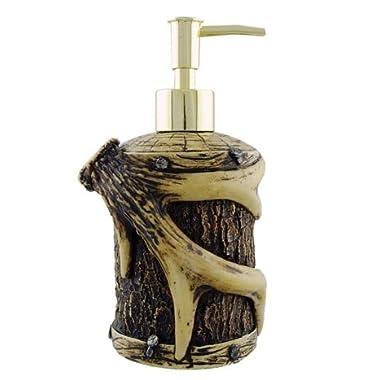 Rustic Lodge Antler Tree Bark Wood Liquid Soap Lotion Pump Dispenser, 7.5-inch, Round