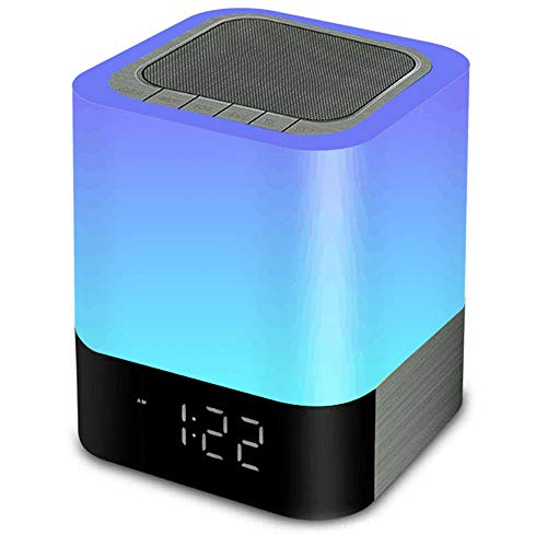 MJDUO Night Light Bluetooth Speaker,Portable Dimmable Touch Sensor Table Lamp with Alarm Clock,MP3 Music Player,USB,AUX Best Gift for -