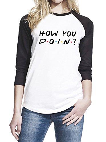 Wearuz Friends TV Show How You Doin Joey Quote Women Baseball Shirt Large White