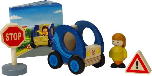 Hape Smart Car Wooden Figure Set with Book Doug Stop Sign