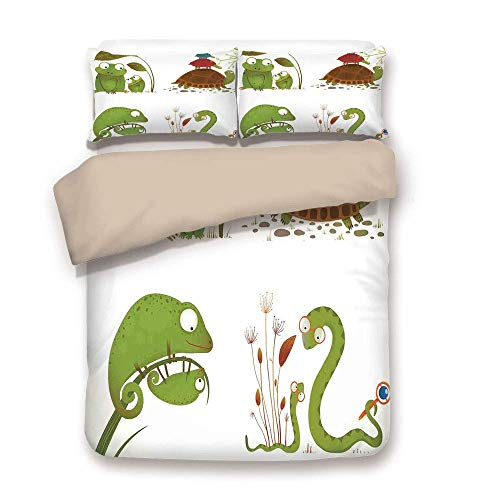 Yaoni Duvet Cover Set,Back of Khaki,Reptiles,Reptile Family with Colorful Baby Collection Snake Frog Ninja Turtles Love Mother,Green Brown Red,Decorative 3 Pcs Bedding Set by 2 Pillow - Sheets Turtle Ninja Queen