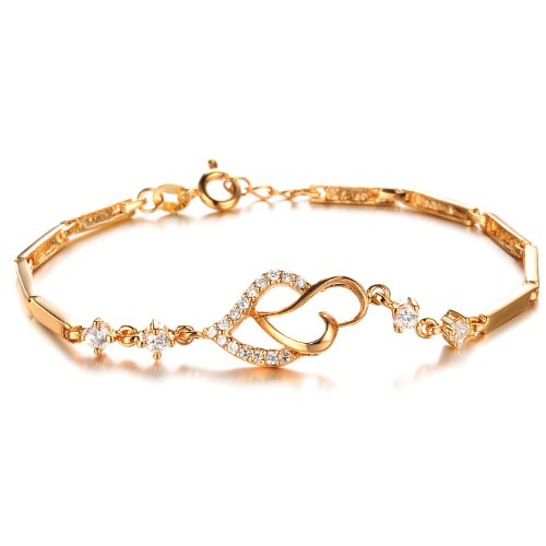 L & J 18K Gold Plated Elegant CZ Double Heart Bangle Bracelet for Women, Birthday Gift for Her