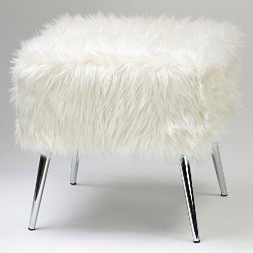 Cortesi Home CH-OT905467 Olivia Faux Fur Ottoman with Chrome Legs, 20″, White Faux Fur