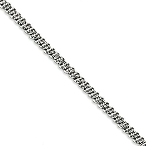 Argent Sterling Rhodium plaqué diamant JewelryWeb Bracelet