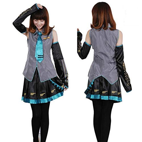 Full Set Vocaloid Hatsune Miku Cosplay Costume Outfits Anime Cosplay Harajuku Costumes Grey