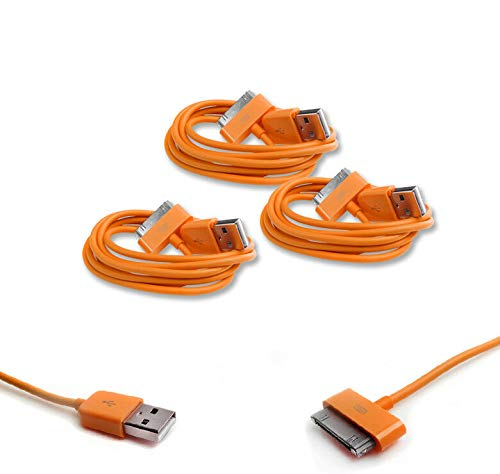 FidgetGear New 3X 3FT USB to 30PIN Orange Cable Cord Data Charger for Galaxy TAB Tablet Show One Size