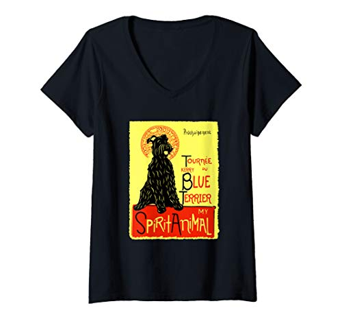Womens Cute Kerry Blue Terrier Spirit Animal Dog Graphic V-Neck T-Shirt ()