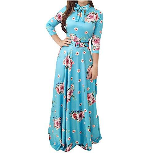 YJYdada Women Dress, Women Plus Size Fashion Print Tie Long Sleeve Party Long Maxi Cocktail Dress (M)