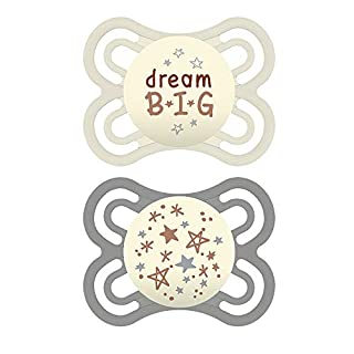 MAM Perfect Night Pacifiers, Glow in the Dark Pacifiers (2 pack, 1 Sterilizing Pacifier Case) MAM Pacifiers 0-6 Months, Unisex Baby Pacifiers, Designs May Vary