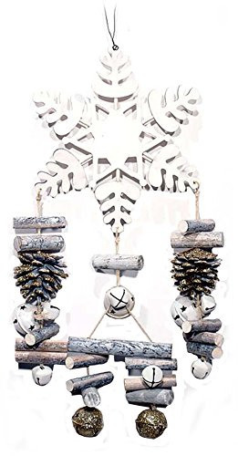 Transpac White Washed Wood Snowflake, Pine Cone and Jingle Bell Mobile Wind Chime