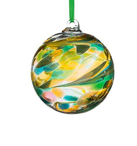 August Birthstone Glass - Sienna Birthstone Glass Friendship Ball August, Peridot. by Glass
