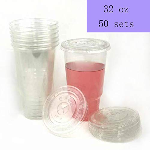 - 50sets 32oz. Plastic Ultra Clear Cups with flat lids is for cold drinks like iced coffee, Bubble Tea, Frozen Cocktails, water , Sosa and juices