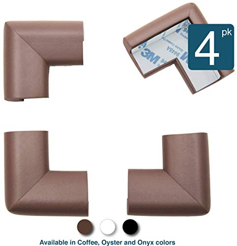 - Roving Cove | Corner Protector | Baby Proofing Table Corner Bumper Guard | Child Safety Furniture Fireplace Corner Edge Guards | Soft Foam | Safe Corner Cushion | Pre-Taped | 4-pcs Coffee (Brown)