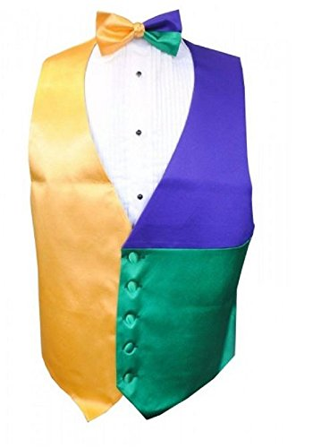 Mardi Gras Block Party Tuxedo Vest and Bow Tie Size Medium