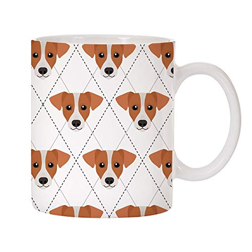 Mystic Sloth Adorable Dog Breed Specific Argyle Pattern 11oz Ceramic Coffee Mug (Jack Russell Terrier)