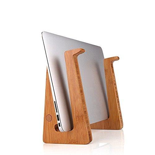 GrowFer Portable Solid Wood Laptop Vertical Holder Assemb...