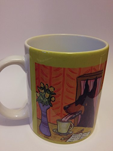doberman pinscher at the coffee shop cafe dog art mug cup gift 11 (Pinschers Mug Dog)