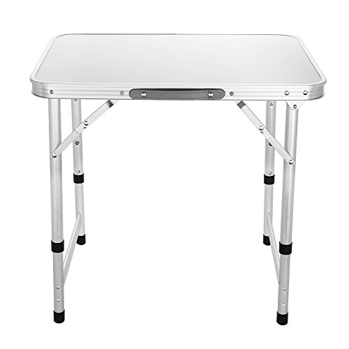 Ancheer Aluminum Portable Folding Camping Table, Height Adjustable & Case shaped with Carrying Handle, 23.7 x 17.8 Inch