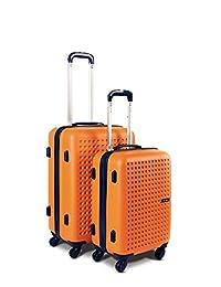 YUL Canada Brand Lightweight Hardside Spinner Luggage Trolley Suitcase TSA - Polka Dots Collection (Orange/Navy, 2PCE Set) Extra TSA Lock Offered