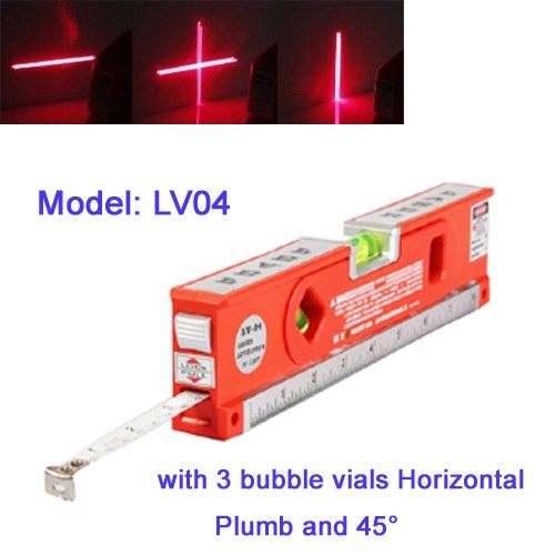Sinotech Multifunctional Laser Level Marker with 3 Bubble Vials Horizontal /Plumb and 45 with LED Lights Lv04