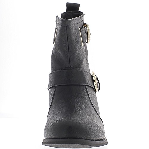 ChaussMoi Open Low Ankle Boots Black to 4cm Leather with 2 Wide Flanges Look Heel dDrtijsc