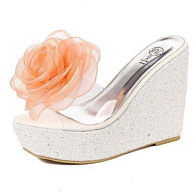 LvYuan Tacón Cuña-Zapatos del club-Sandalias-Vestido-Goma-Negro Rosa Blanco Pink